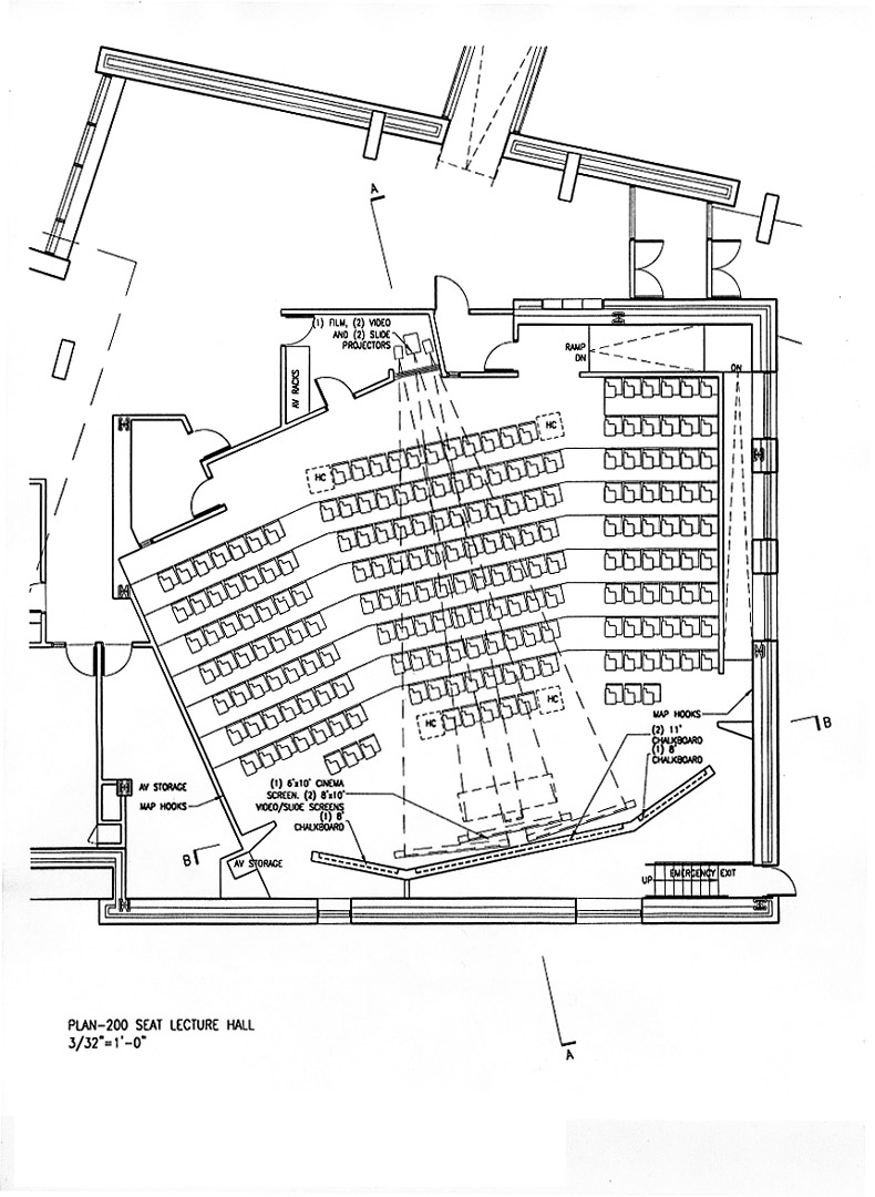 200 seat lecture hall plan