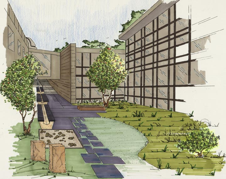 crum woods courtyard landscaping plan