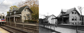 Photos of the Swarthmore train depot now and then.