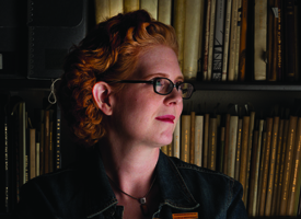 Anne Garrison, the humanities and book-arts librarian and curator of the book-arts collection