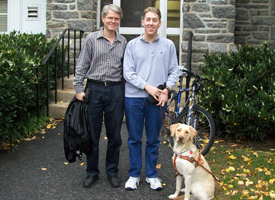 Carr Everbach, Hayden Damm, and his seeing eye dog.