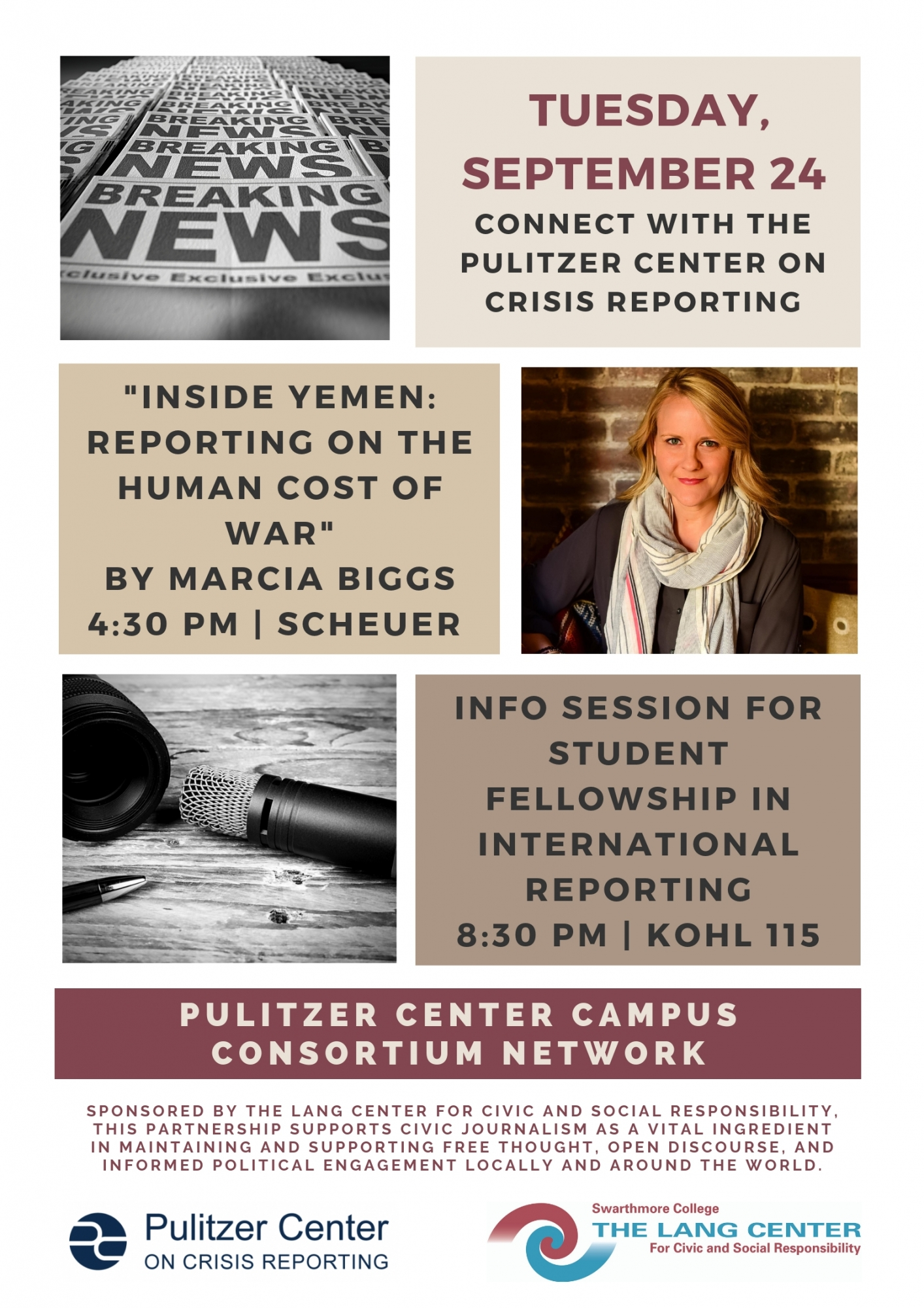 Poster Advertising Marcia Biggs' Lecture in Fall 2019