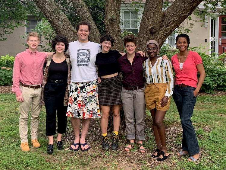 Summer 2019 cohort with program manager Ashley Henry (from left to right): Colin Donahue '22, Helen Tumolo '22, Nya Kuziwa '22,Vanessa Levy '21,Tessa Hannigan '20, Angeline Etienne '22, Ashley Henry.