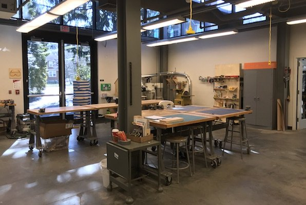 Work desks situated in the center of the Makerspace in Whittier.