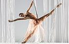 A ballerina stretches