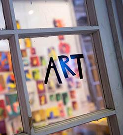 Art written in tape on a window