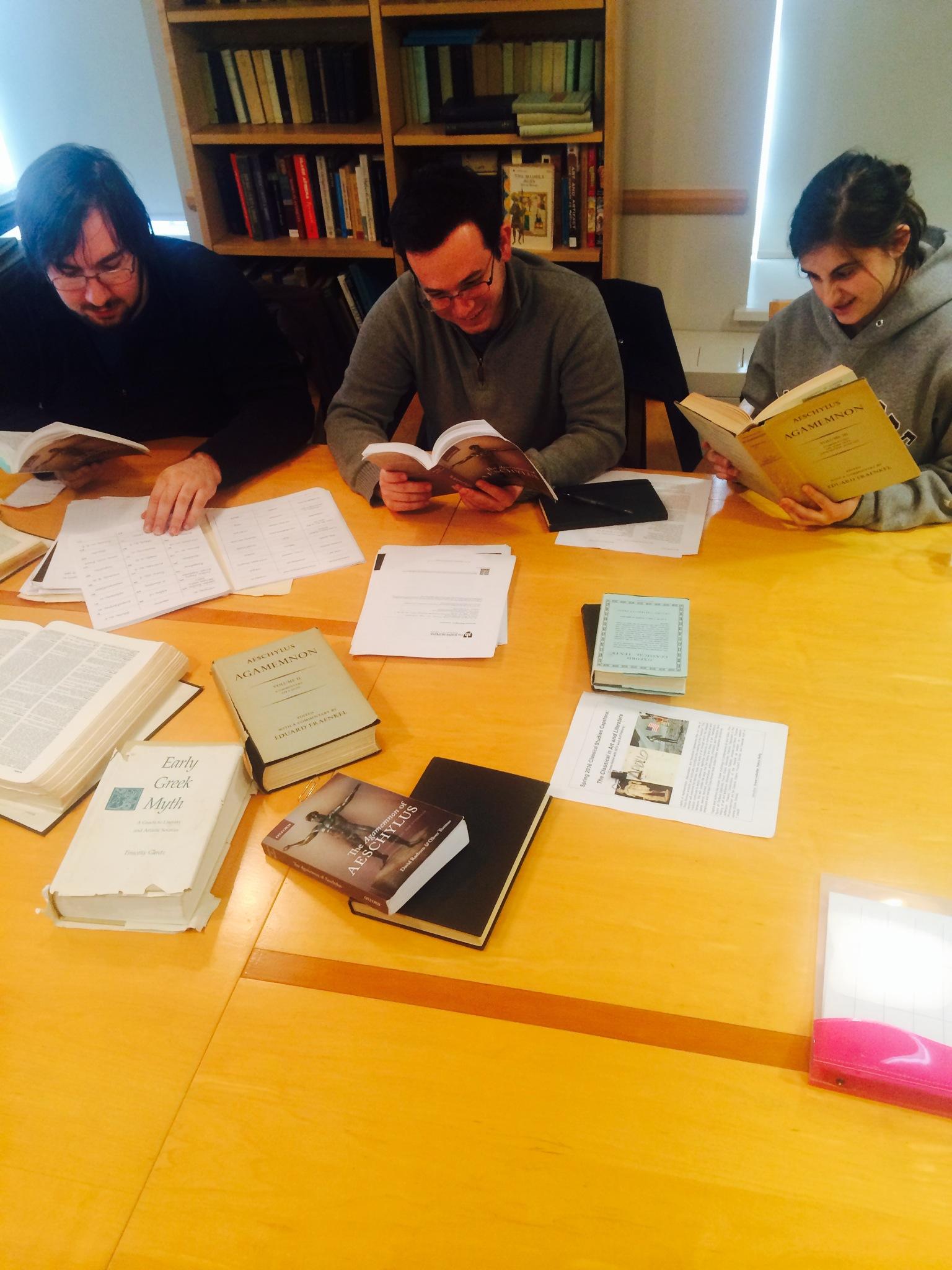 classics students reading