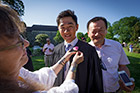The tradition of graduating seniors receiving roses from the Dean Bond Rose Garden prior to Commencement continues.