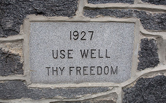 Use Well Thy Freedom plaque on Swarthmore's campus