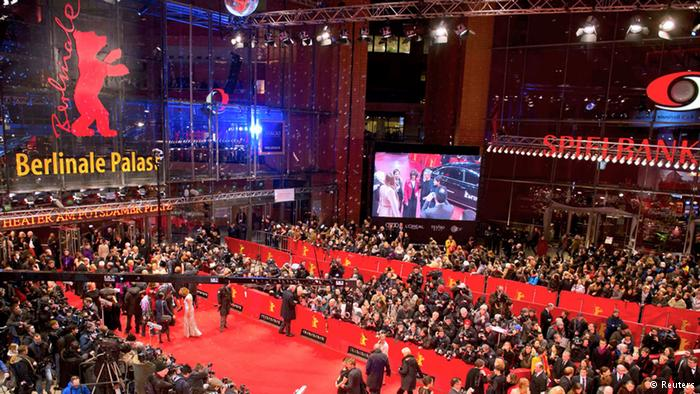 photograph of crowds on the red carpet entrance of the Berlinale