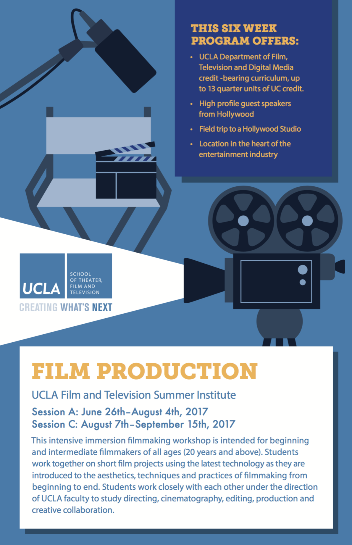 Poster for UCLA Film & TV Summer Institute; contains text describing the nature of the institute. emphasizes a focus on production. the summer institute is 6 weeks long. there are two sessions. session a runs from june 26 - august 4; session b runs from august 7 - september 15. visit the UCLA website (linked below) to get details about the summer institute.