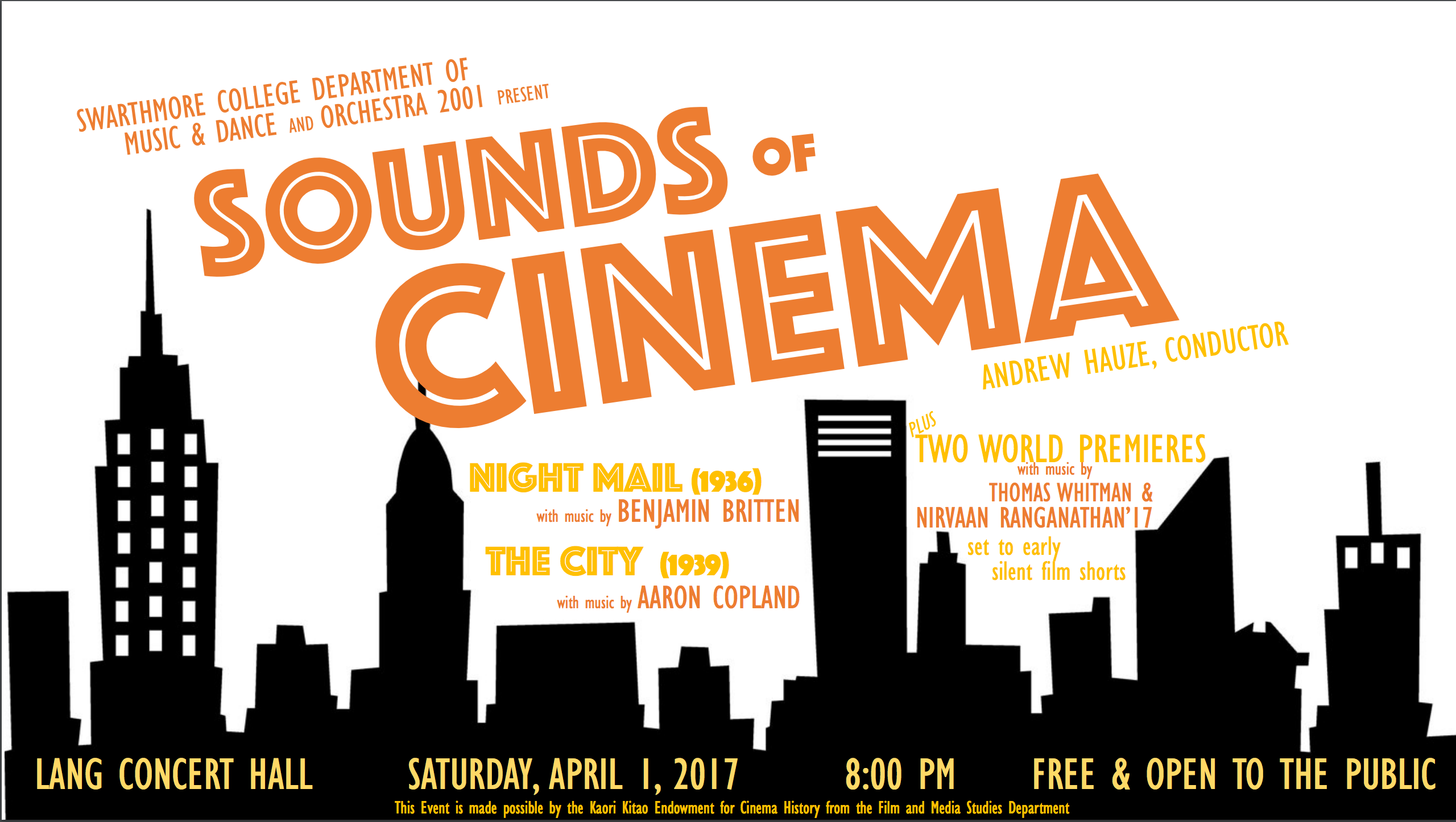 """poster for """"sounds of cinema"""" depicting a cityscape in silhouette against a white background"""