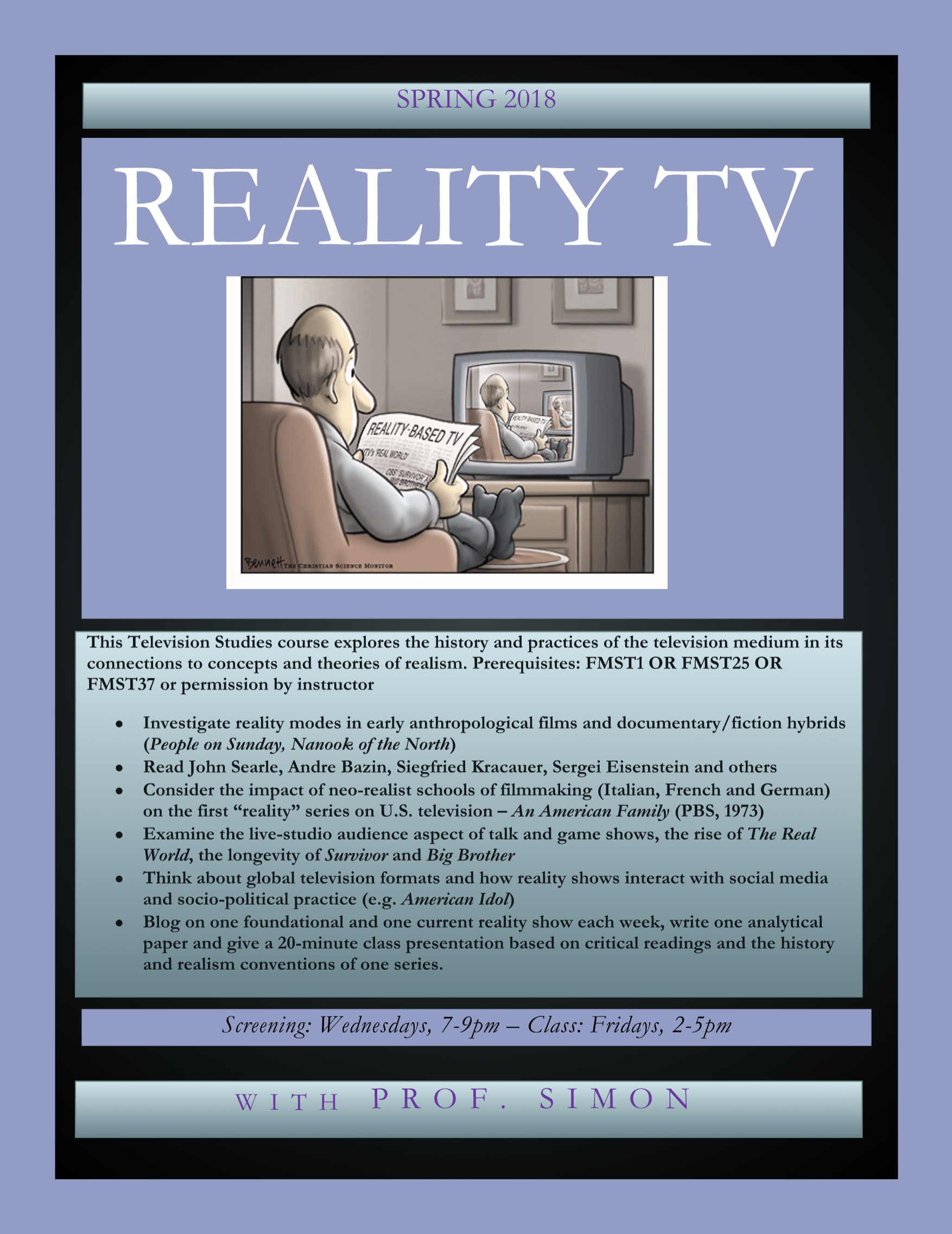 poster advertising reality TV course. information provided in text below.