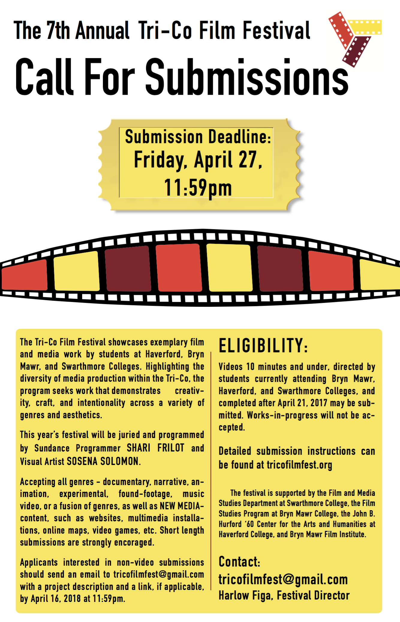 TriCo Film Festival Advertising Poster detailing all text as posted below