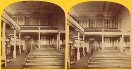 Photograph of interior of Lombard Street meeting house in Baltimore