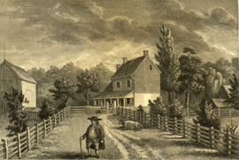 Engraving of the home of Richard Jordan