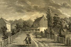 Engraving of Richard Jordan's residence