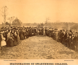 Photograph of Tree Planting during the Inauguration of Swarthmore College