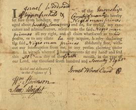 Manuscript manumission certificate