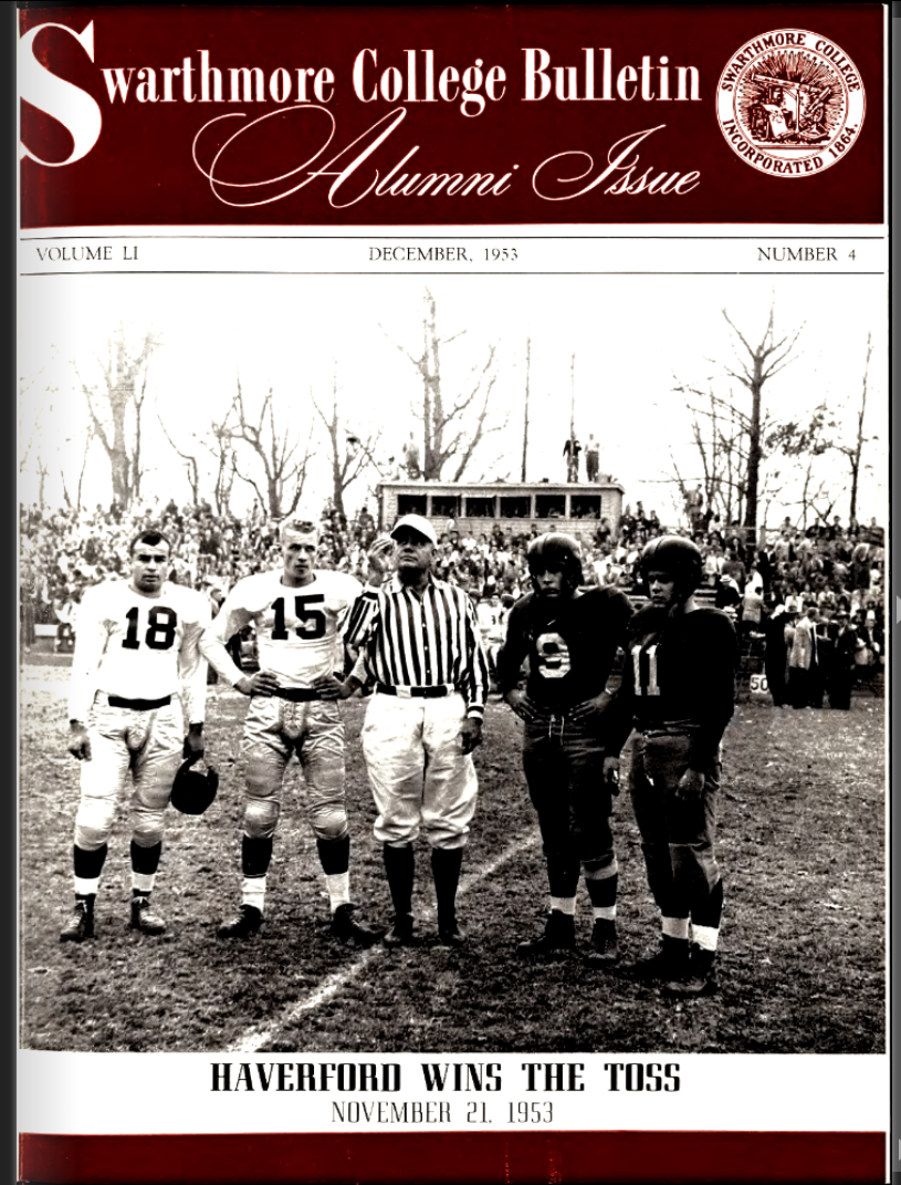 Cover of a 1953 issue of the Swarthmore College Bulletin: Alumni Issue featuring football players.