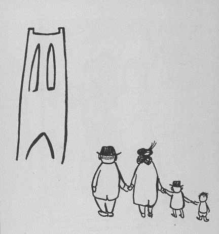 Cartoon image of family gazing at Clothier Tower