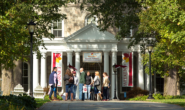 Visitors outside Parrish Hall