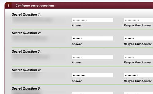 Configure secret questions