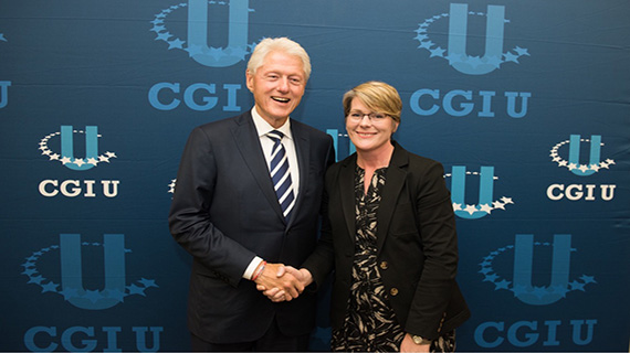 Professor Denise Crossan and President Clinton