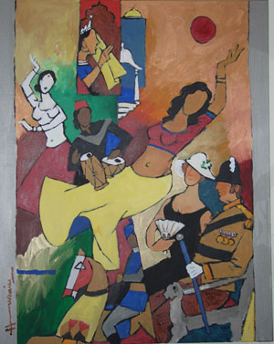 M.F. Husain, Untitled from the Raj series, 2003. Marguerite and Kent Srikanth Charugundla Collection, New York.