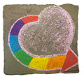 A rainbow chalk drawing of a heart