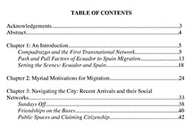Table of Contents from Thesis