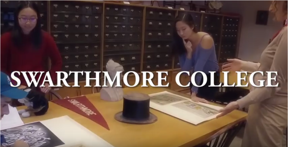 The opening shot for the Swarthmore College libraries mannequin challenge video