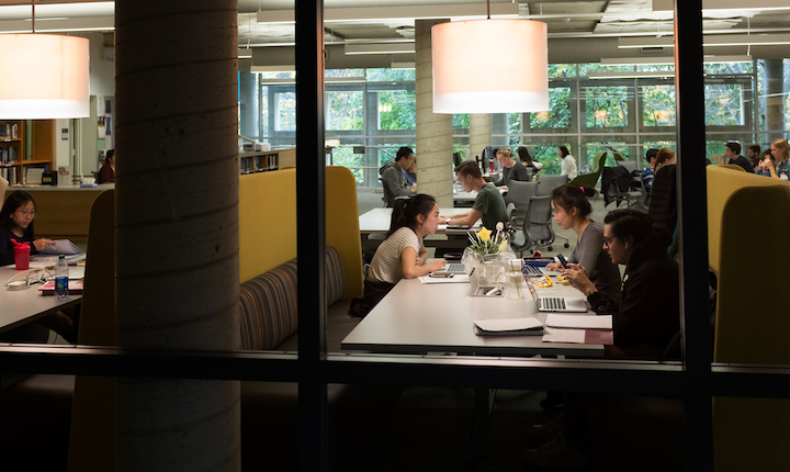 Students study in the Cornell Library