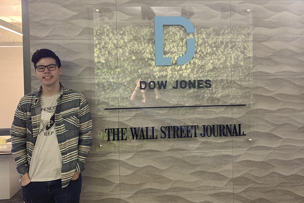 Bryce Mick '21 stands at Wall Street Journal office