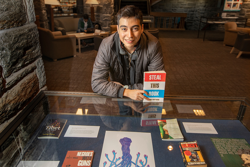 Martin Palomo '19 with book collection