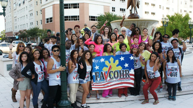 Members of The Filipino American Vote Coalition of Hampton Roads, Va., at the launch of the National Registration Day in the U.S. (photo by Maki Somosot '12)