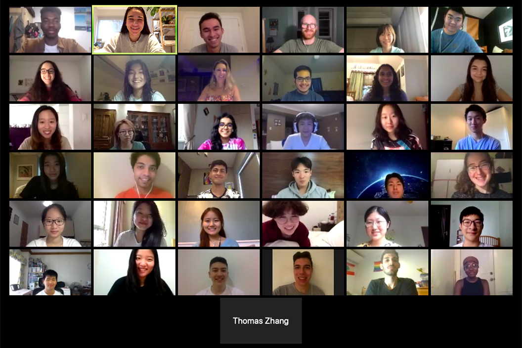 Rows of student faces on Zoom video call