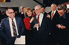Eugene Lang '38 with (from left) President Al Bloom, Nancy Austrian, Jim Hormel '55, and Provost Jennie Keith (right) in 1996.