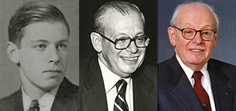 A collage of three photos of Eugene Lang '38 at different ages.