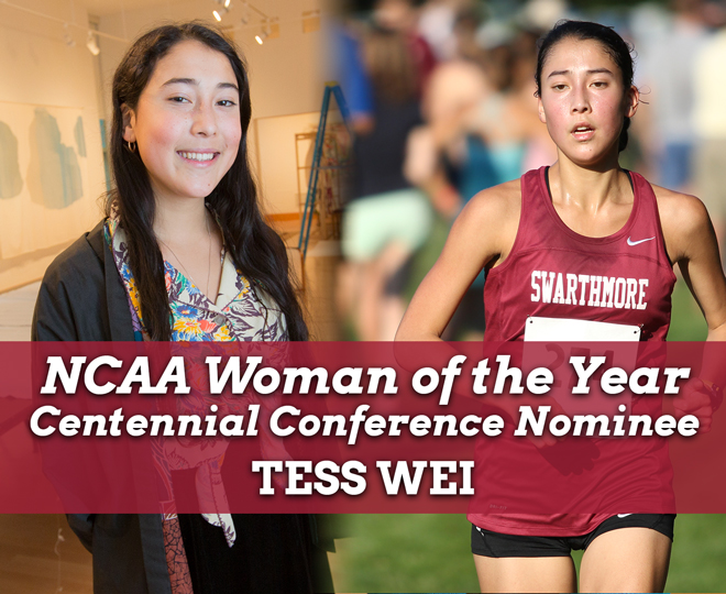 A side by side image of Tess Wei '17 that shows her in the List Gallery on the left and and running in a track and field event on the right.