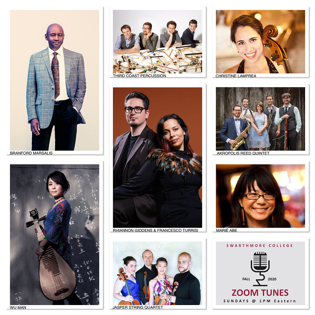 Collage of images of performers Hiannon Giddens, Branford Marsalis, Wu Man, Third Coast Percussion, Akropolis Reed Quintet, Jasper String Quartet, Christine Lamprea, and Maríé Abe.