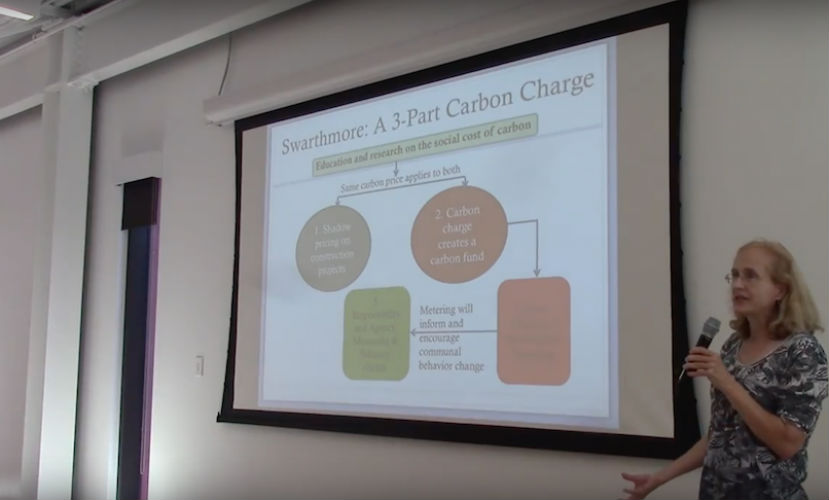 Professor Betsy Bolton giving a presentation on Carbon Charge