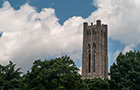 Clothier Bell Tower in the clouds.