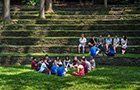 Students sitting in amphitheater
