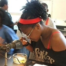 Young student examining experiment with magnifying glass.