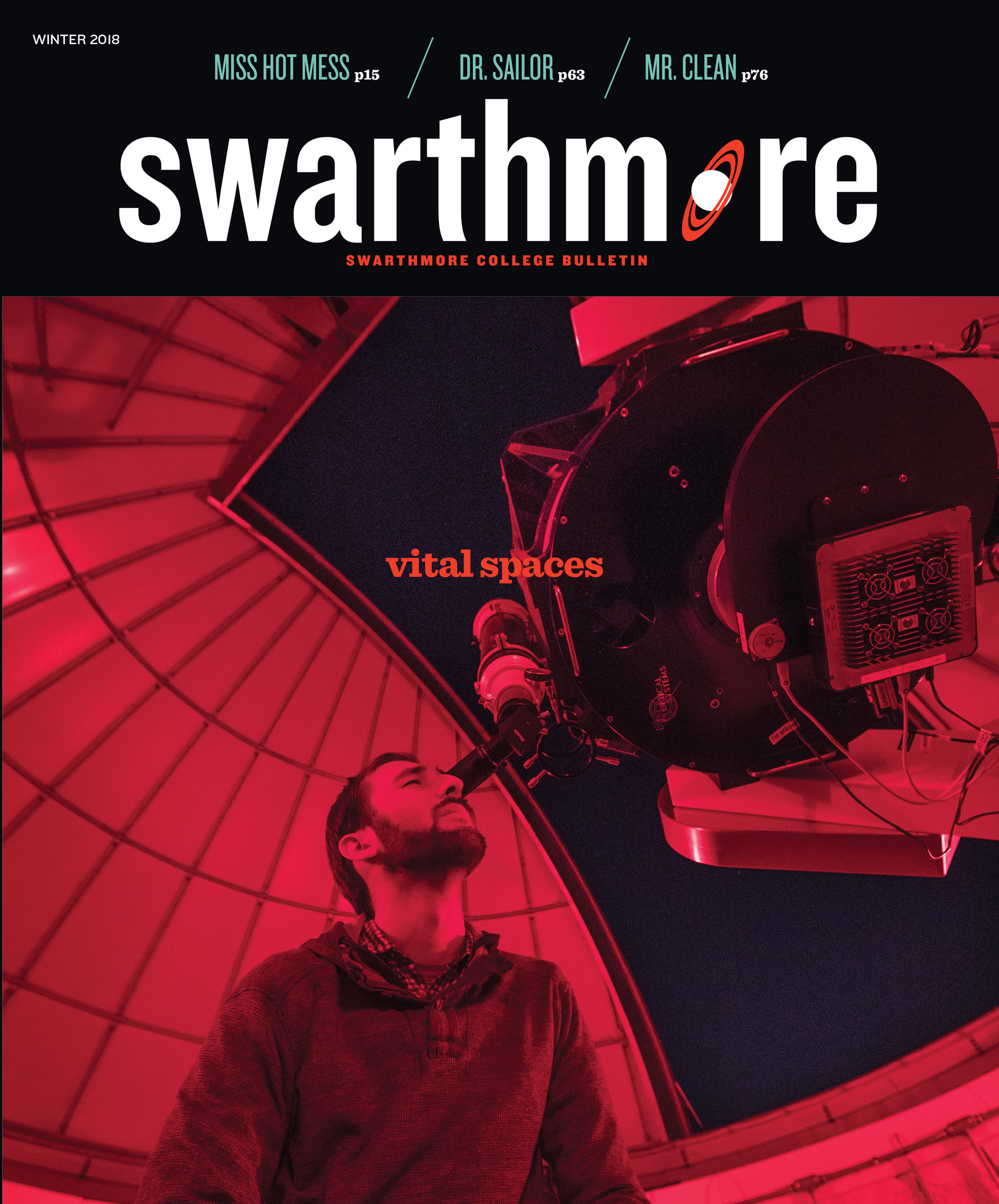 Winter 2018 cover of the bulletin, with a student looking through a telescope
