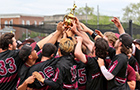 The baseball team celebrates a conference title.