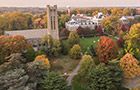 An aerial view of Swarthmore's campus in fall