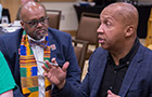 Bryan Stevenson talks to a student