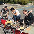 Students work on their eco car
